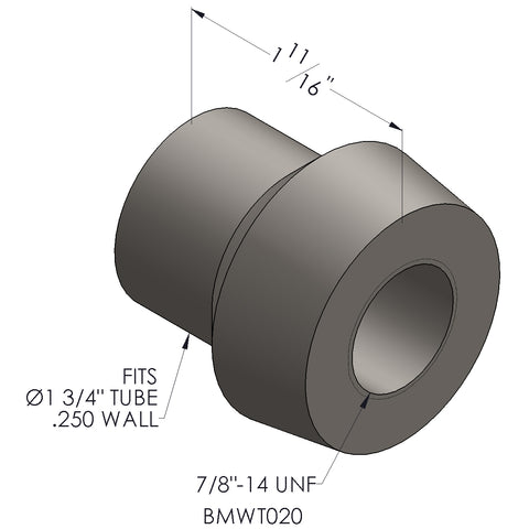 "7/8""-14 Threaded Bung For 1 3/4 x 0.250 Wall Tubing (RH)"