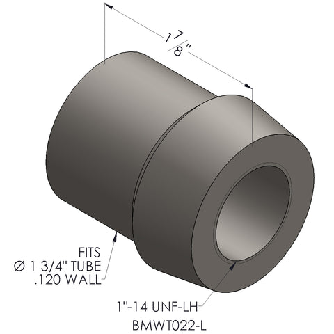 "1""-14 Threaded Bung For 1 3/4"" x 0.120 Wall Tubing (LH)"