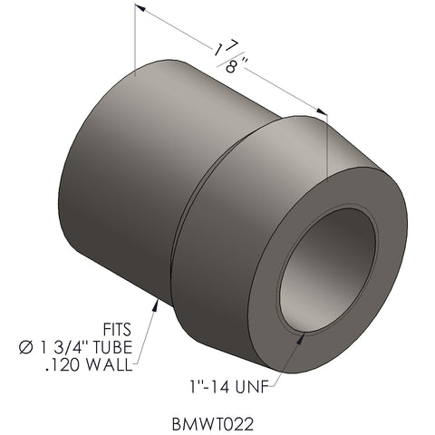 "1""-14 Threaded Bung For 1 3/4 x 0.120 Wall Tubing (RH)"