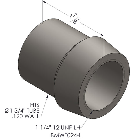 "1 1/4""-12 Threaded Bung For 1 3/4"" x 0.120 Wall Tubing (LH)"