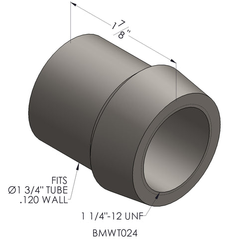 "1 1/4""-12 Threaded Bung For 1 3/4"" x 0.120 Wall Tubing (RH)"