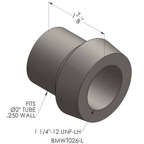 "1 1/4""-12 Threaded Bung For 2"" x 0.250 Wall Tubing (LH)"