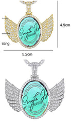 Small Oval Angel Wing Necklace