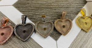 Large blingy hearts