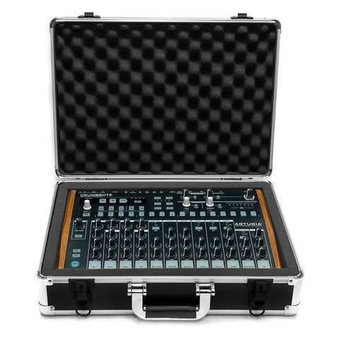 Arturia DrumBrute Travel Case - Case Open With Drum Machine