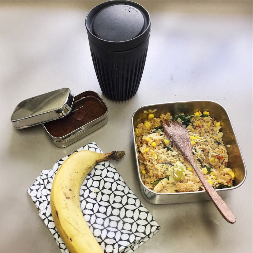 Zero Waste lunch featuring Wooden Travel Cutlery and single Huskee Cup with lid from The Ekologi Store.