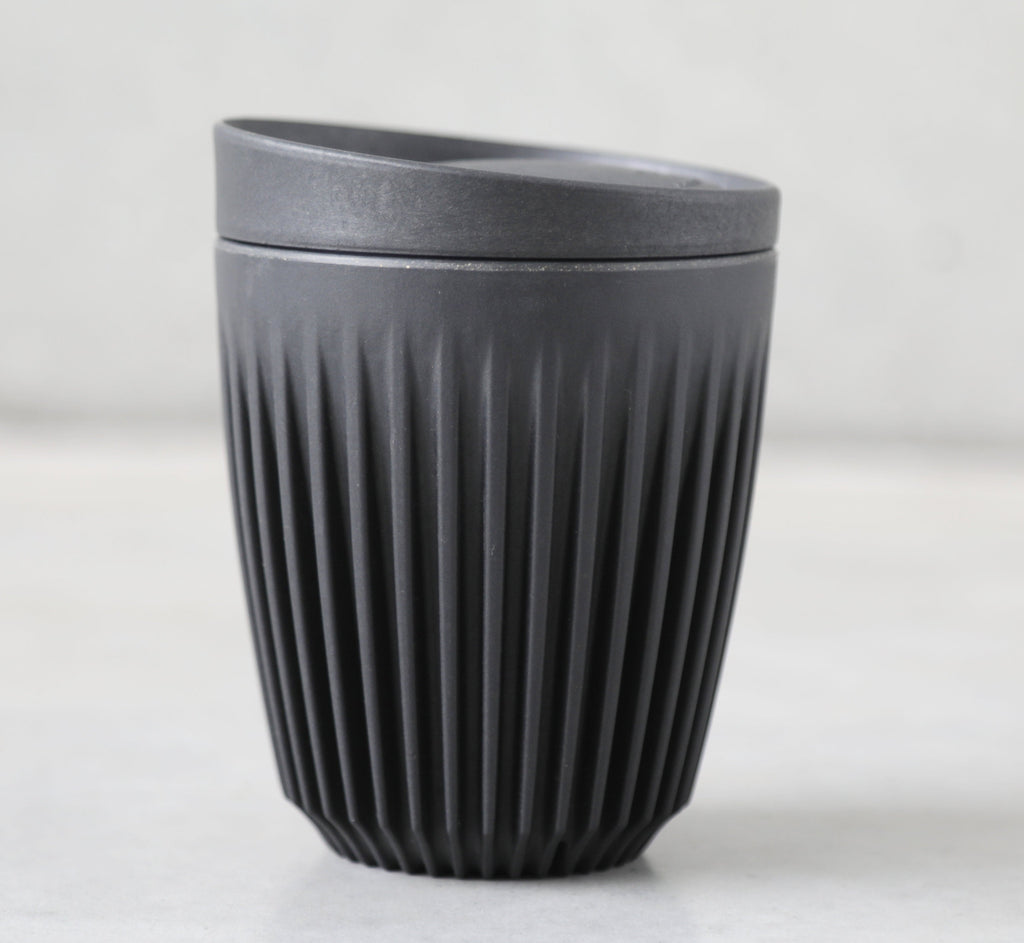 8oz charcoal black HuskeeCup Reusable coffee cup, from The Ekologi Store.