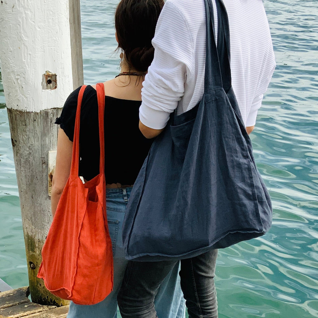 Ekologi 100% Linen Tote Bags with pocket