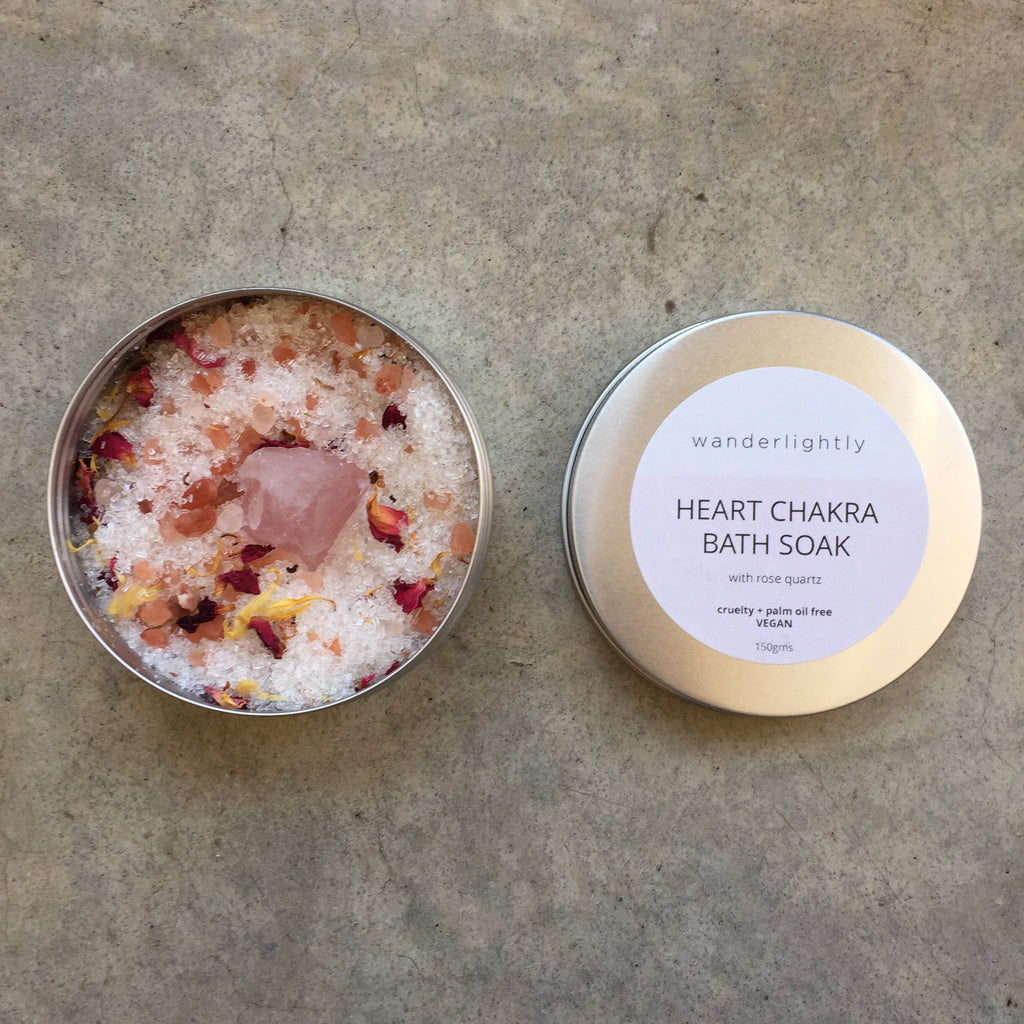 Heart Chakra Bath Salts with Rose Quartz Crystal