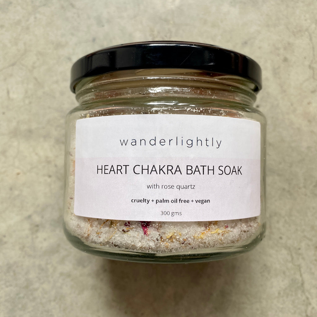 Heart Chakra Bath Soak with Rose Quartz Crystal
