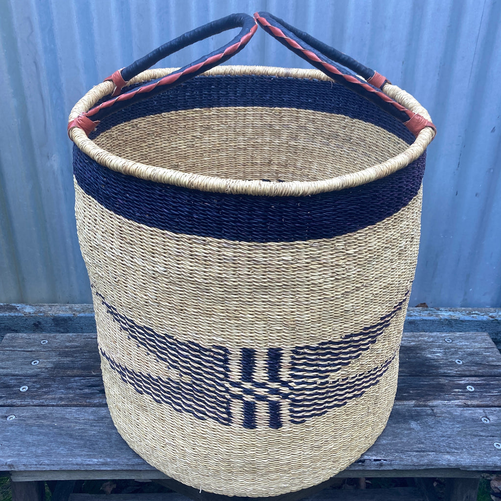 Handmade fair trade children's open weave market basket with leather handle made in Ghana