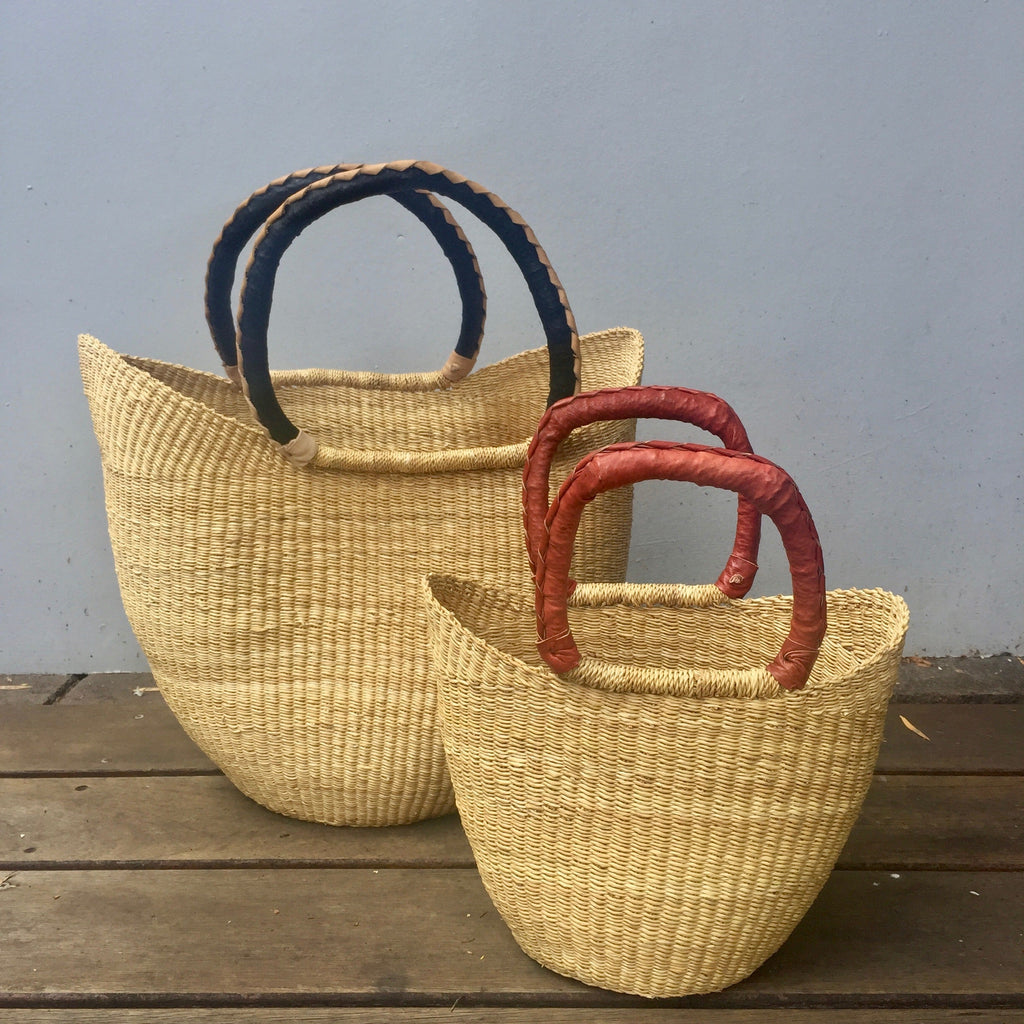 African Bolga Market Shopping Basket and Mini African Bolga Market Shopping Basket both with leather handles.