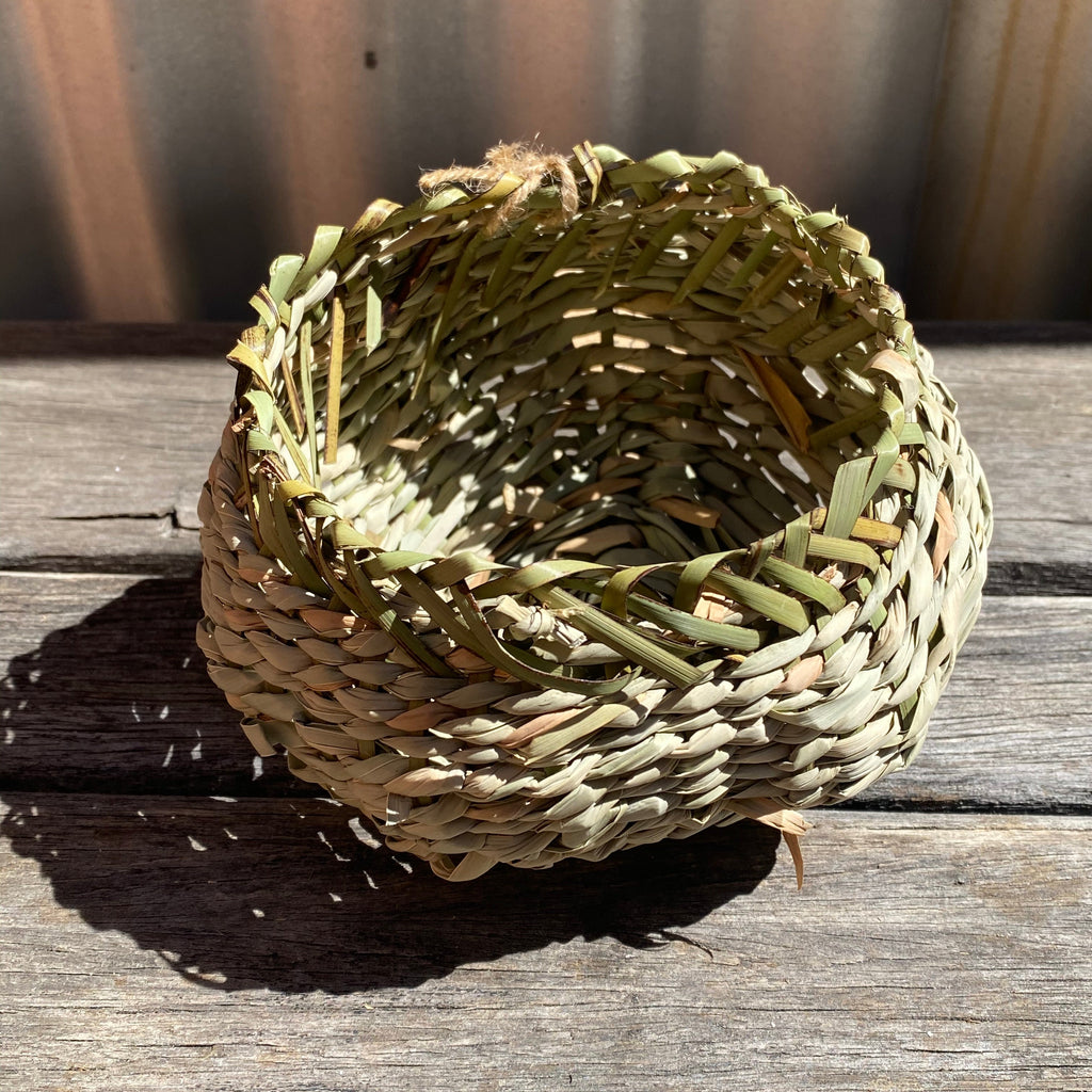 Basketboy Natural Woven Table Baskets - Green rim