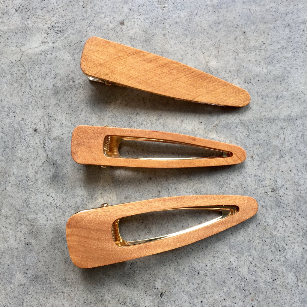 Bamboo Hair Clips - set of 3