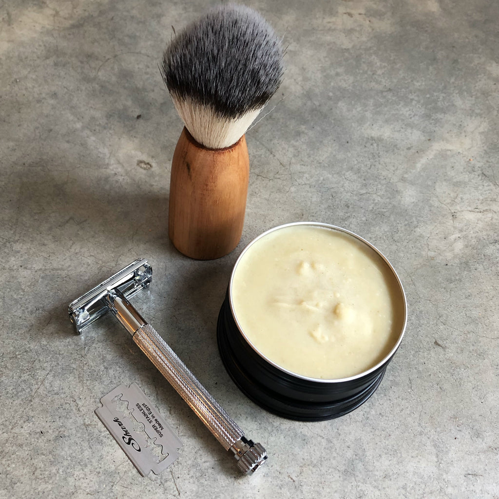 Zero Waste Shaving Kit with Parker Safety Razor, Handmade Vegan Shaving Brush with wooden handle, and a year's supply of Mr Smooth Shaving Soap in a tin.