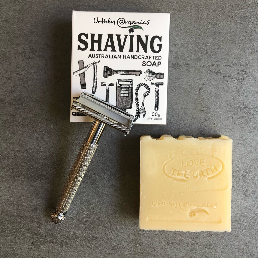 Urthly Organics Shaving Soap and Stainles Steel razor