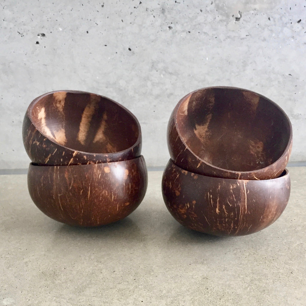 Set of 4 natural Coconut Bowls from The Ekologi Store.