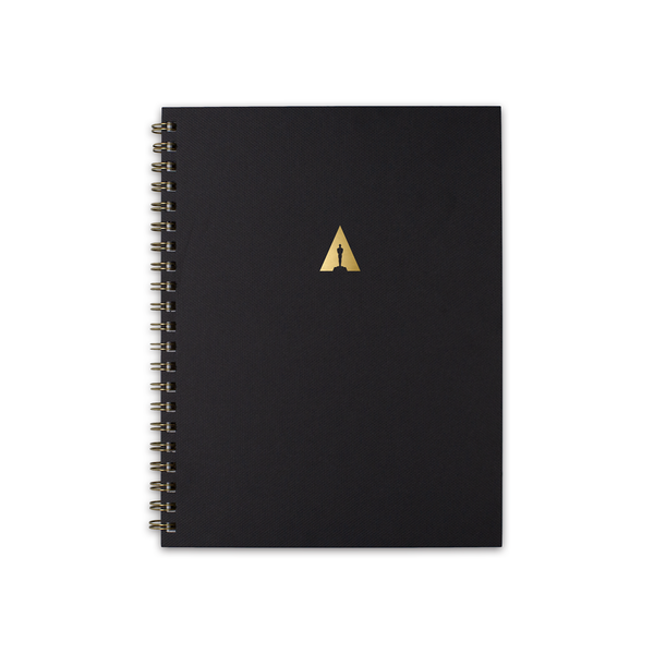 ACADEMY LARGE SPIRAL HARDCOVER NOTEBOOK - BLACK