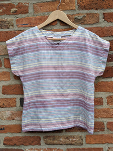 80s pastel coloured poly top size 12