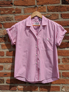 Vintage 80s poly/cotton striped blouse size M