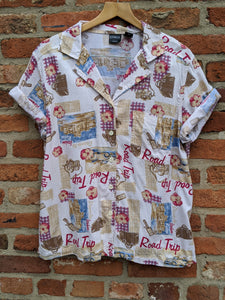 Vintage ladies 'Road Trip' Hawaiian blouse size XL