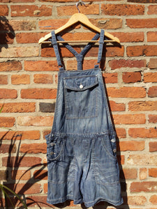 Retro 90s Billabong short denim bleached dungarees 36""