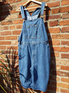Retro 90s short denim dungarees XL