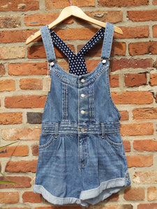 Retro play chess short denim dungarees 34""