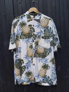 Pineapple print Hawaiian shirt M