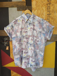 90s patterned short sleeve shirt L