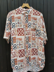 90s patterned short sleeve shirt XL
