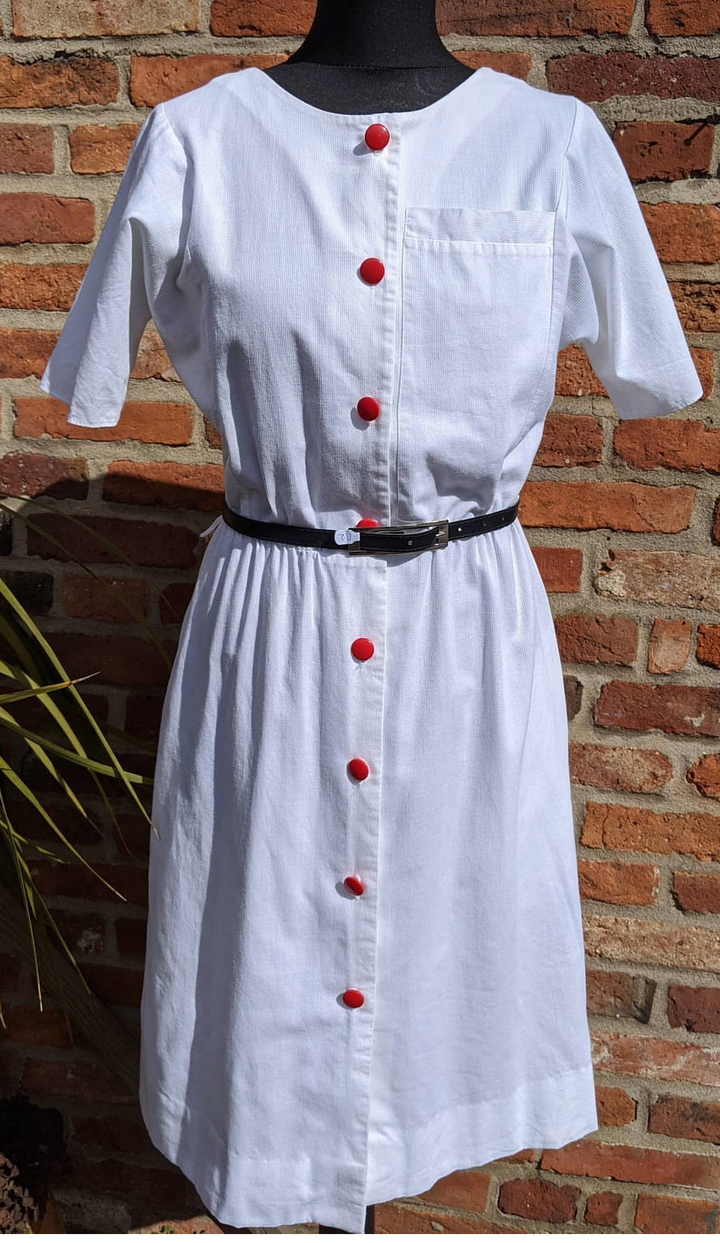 Vintage 80s  white cotton dress approx size 10/12
