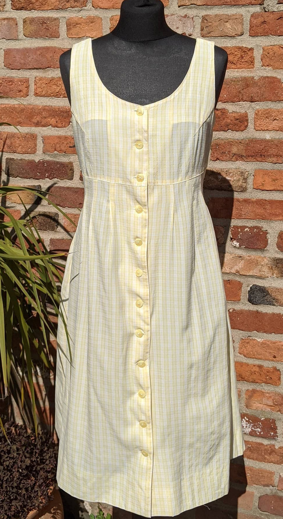 Vintage 90s yellow checked sundress approx size 12/14