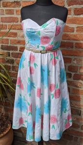80s does 50s floral strapless dress approx size 16