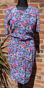 Vintage 80s tulip shape floral dress approx size 14