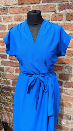 Vntage royal blue mock wrap dress size 12/14