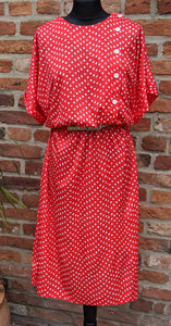 80s red & white patterned midi dress size 14/16