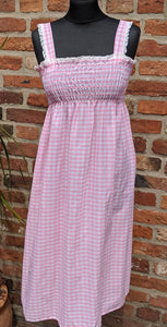 Vintage 70s pink & white gingham sundress size 8/10