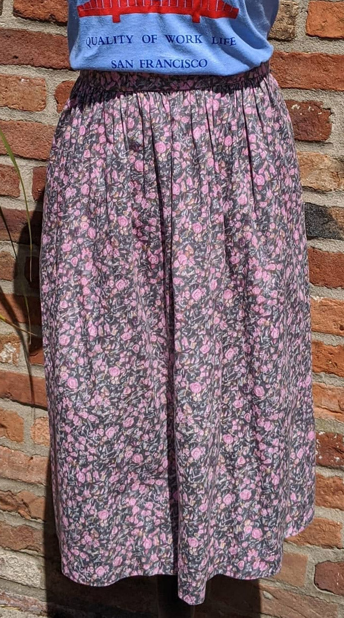 Vintage grey and pink floral cotton skirt