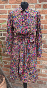 80s patterned silk midi dress size 10/12