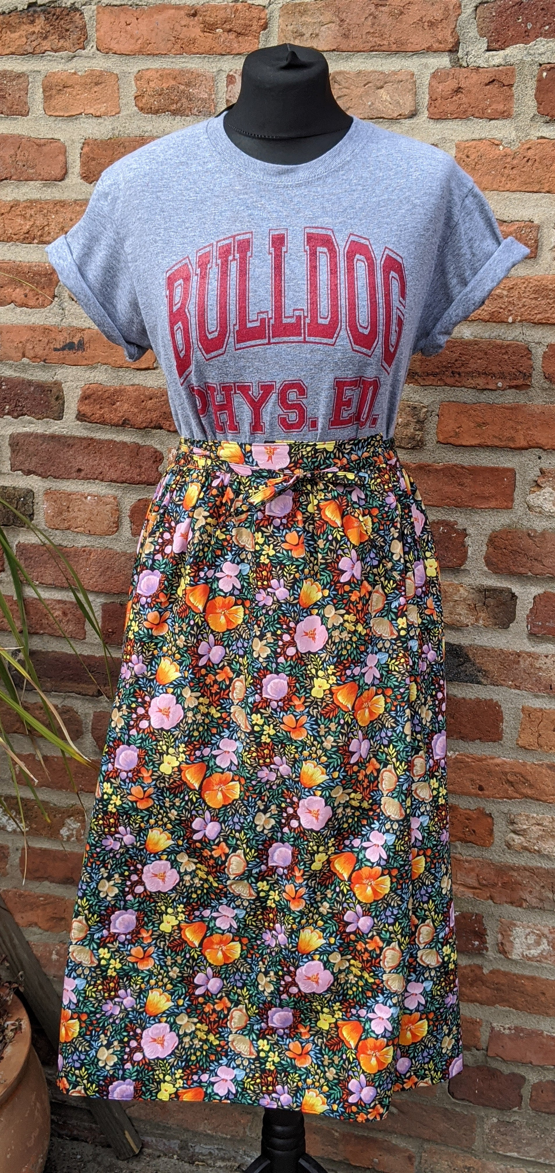 "Floral cotton wrap skirt 28-29"" waist"