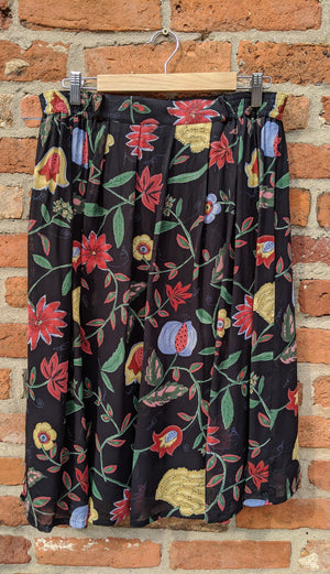 "Dark floral poly midi skirt 31-36"" waist"