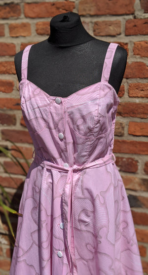 Vintage pink patterned cotton sundress size 14/16