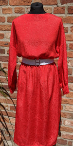 80s red croc skin textured midi dress size 14/16