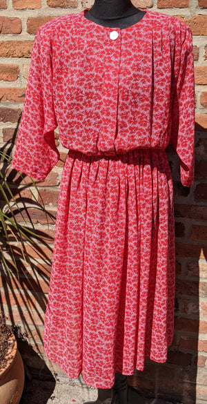 80s red patterned poly chiffon midi dress size 12/14