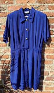 80s blue playsuit with floral buttons size 16