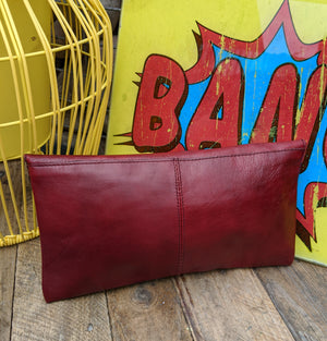 70s burgundy leather envelope clutch bag