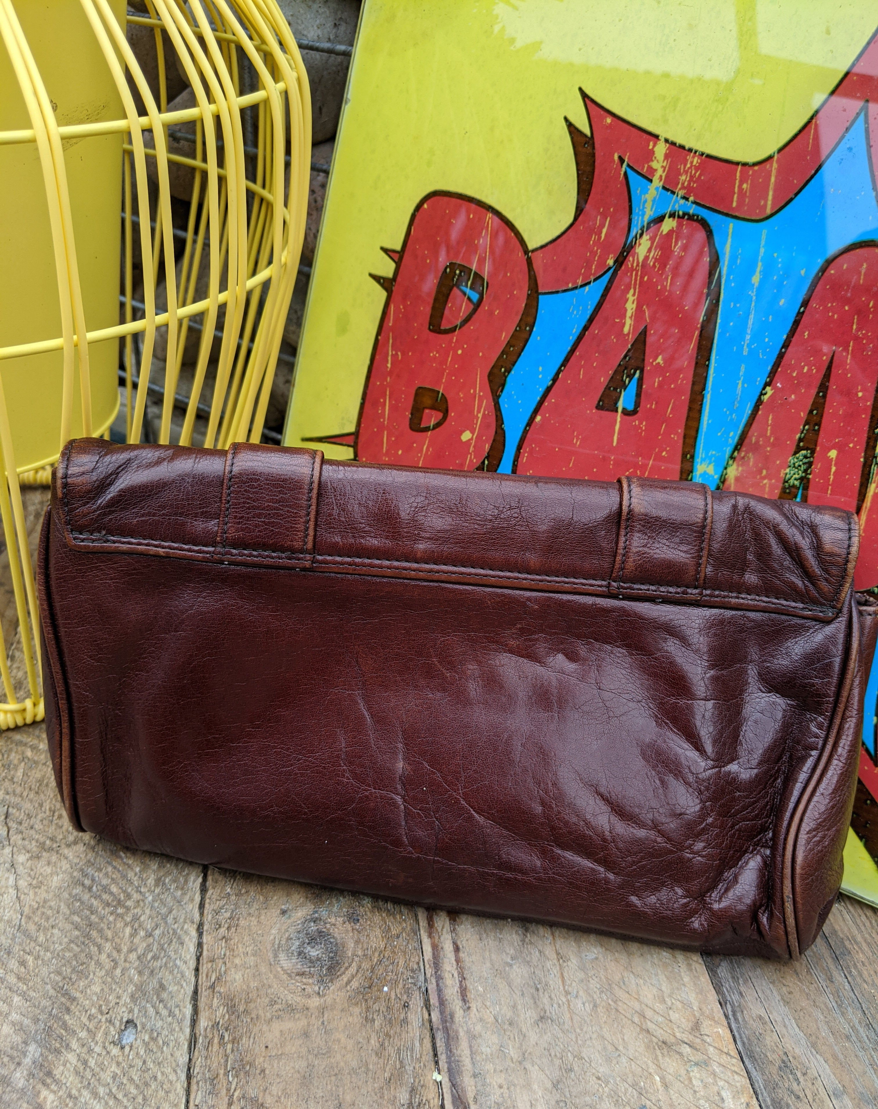 70s chestnut brown leather clutch bag