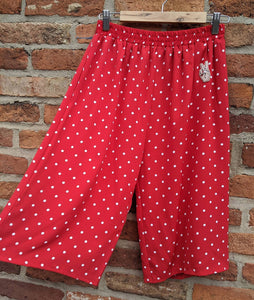 Red and white pilka dit culottes