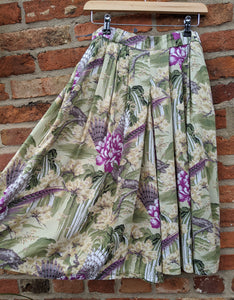 80s feather & floral culottes waist 30""